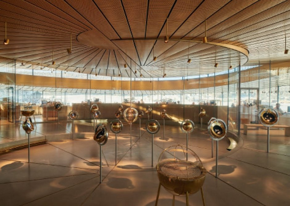 The full kaleidoscopic effect of the museum is felt at its central exhibition area.