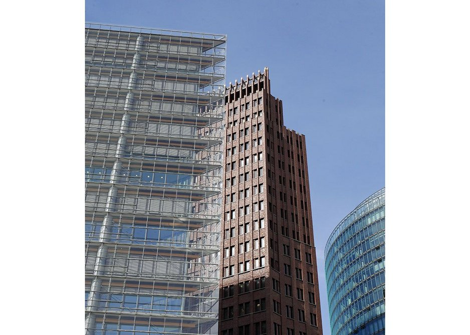 Symbol of the earlier rebuilding of Berlin post-reunification is PotsdamerPlatz. The 1999 Deco-ish brick tower by Hans Kollhoff seemed odd then but looks great now.