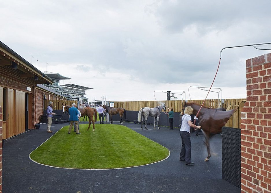 The wash-down facilities are located closest to the finish line.