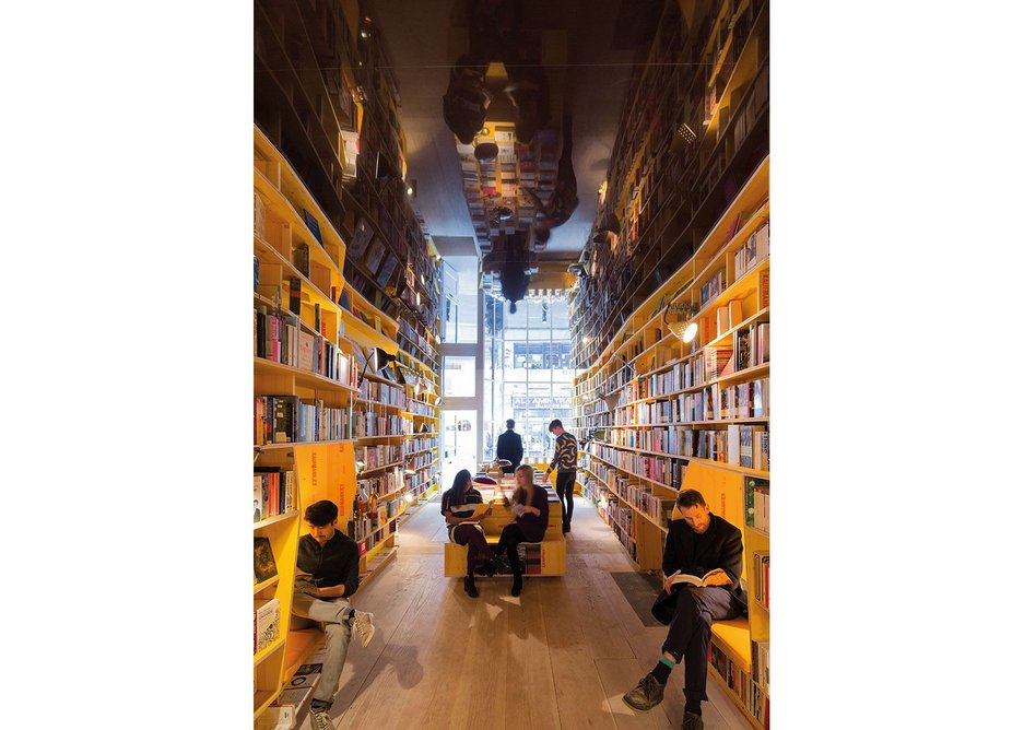 Libreria bookshop is arranged horizontally by theme to encourage intellectual encounters.