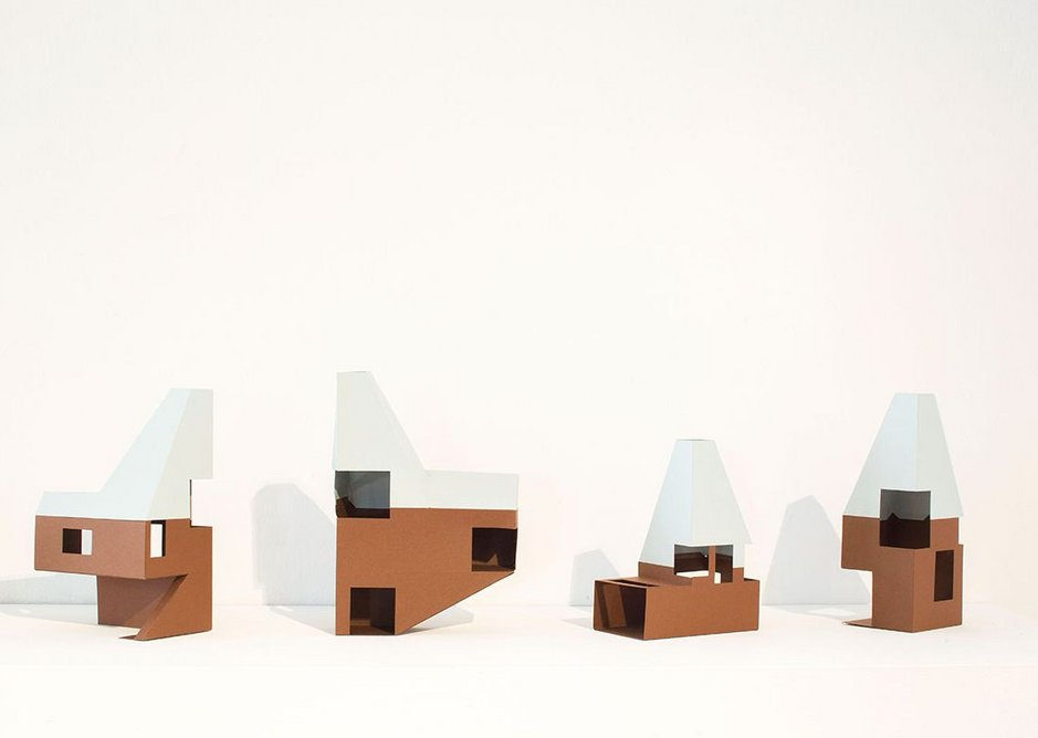 Installation view of Architecture Prototypes & Experiments showing models (made by Rural Office for Architecture) for James Macdonald Wright and Niall Maxwell's Caring Wood rural house.