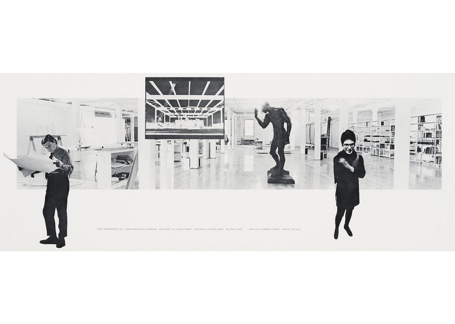 Pier Associates' composite photograph of Phyllis Lambert and David Fix in their studio, 403-409 East Illinois Street, Chicago, USA c1970, reproduction.
