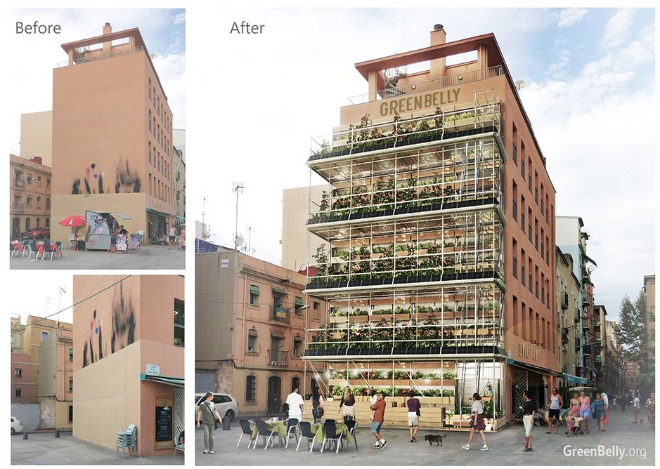 GreenBelly, a proposal for a vertical urban garden that makes use of existing end-of block elevations.