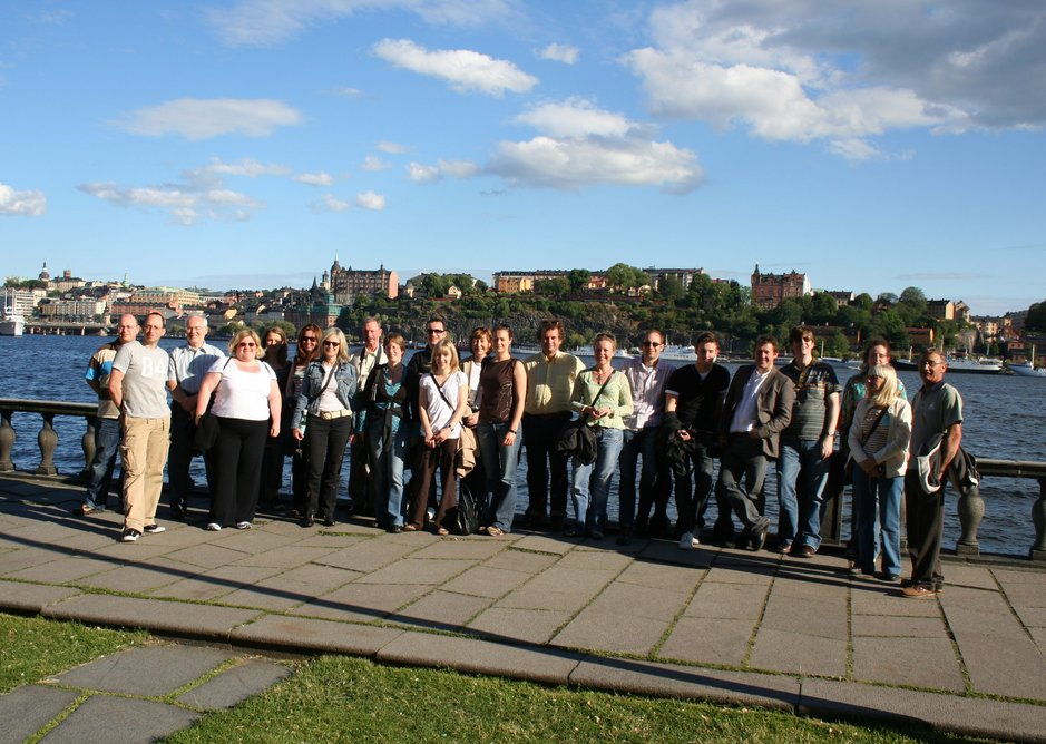 The staff at JDDK Architects on a practice trip to Sweden to view housing schemes, 2006.