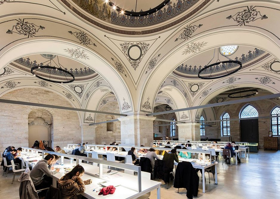 The multi-domed reading room provides a serene and well balanced atmosphere for readers, many of whom are high school or university students
