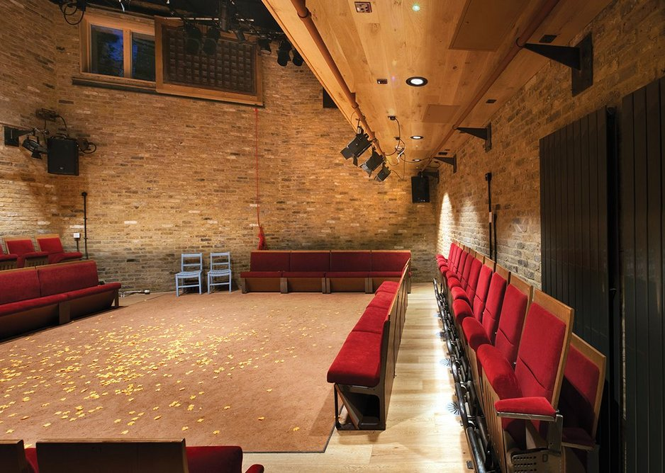 The first rammed earth stage in the UK takes after those found in India. A sliding shutter can be pulled across the external clerestory window during performances.