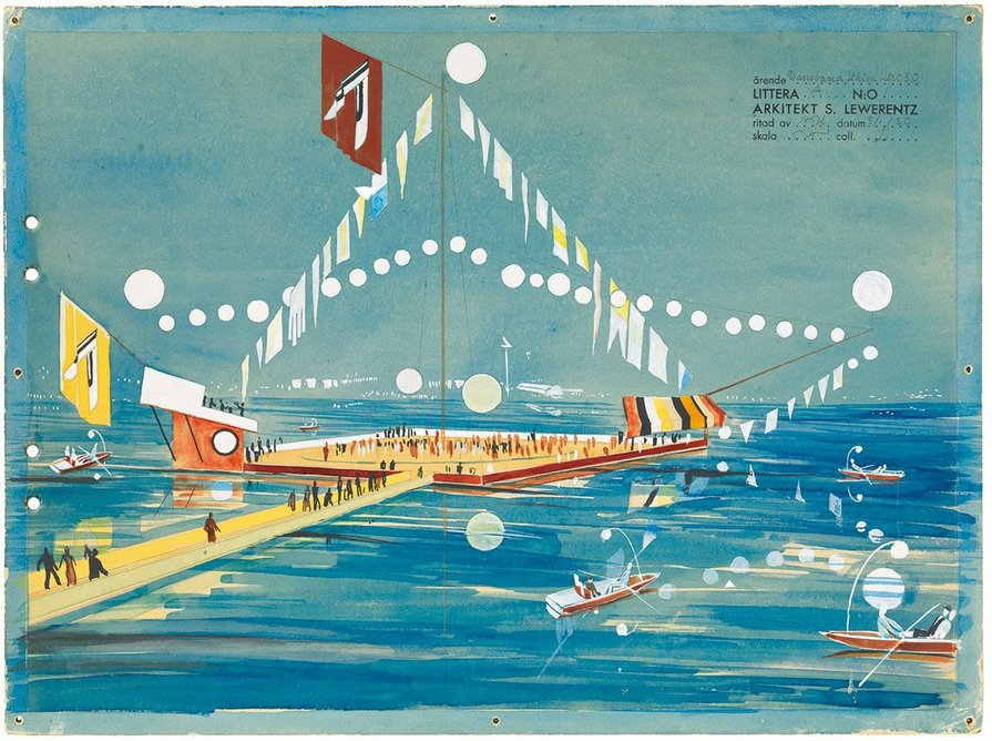 Perspective of floating dance floor, Stockholm Exhibition, watercolour, gouache and pencil on cardboard, 1930, 29 × 39 cm, ARKM.1973-05-05006.
