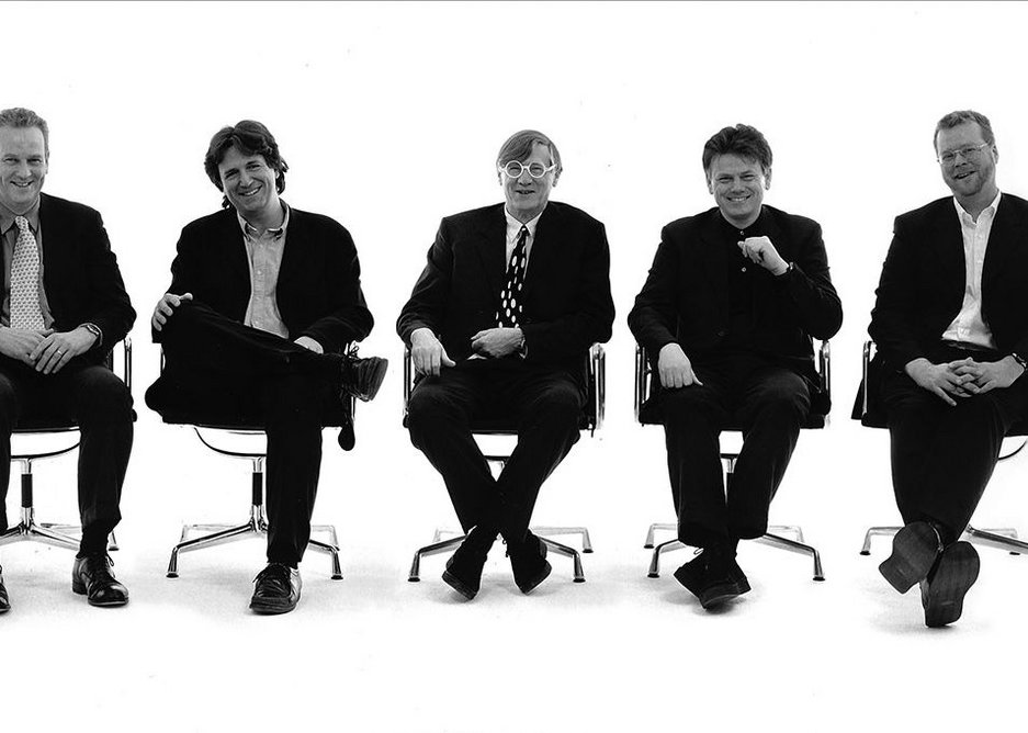Nicholas Grimshaw and Partners, 1990s. From left to right: David Harriss, Neven Sidor, Sir Nicholas Grimshaw, Christopher Nash & Andrew Whalley.