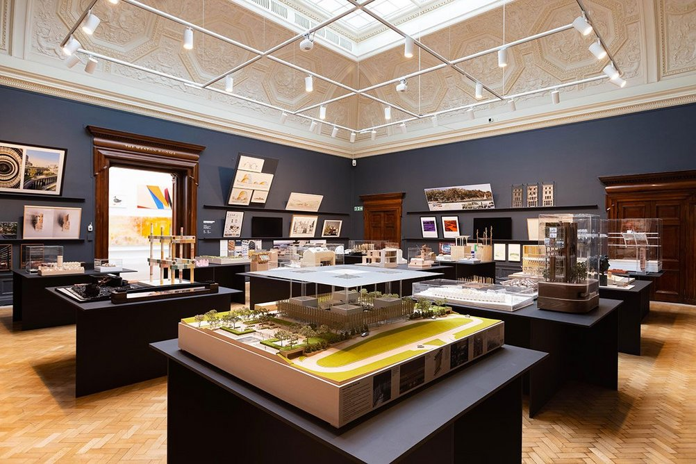 Installation view of the architecture room at the Summer Exhibition 2021, at the Royal Academy of Arts, London, 22 September 2021 – 2 January 2022. In the foreground is The House of Wisdom, Sharjah by Foster + Partners. Photo: © Royal Academy of Arts, London / David Parry