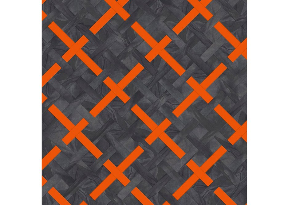 Queen's Square: Basket Weave laying pattern with Umbra Eclipse, Umbra Eclipse, Umbra Eclipse and Sevilla.