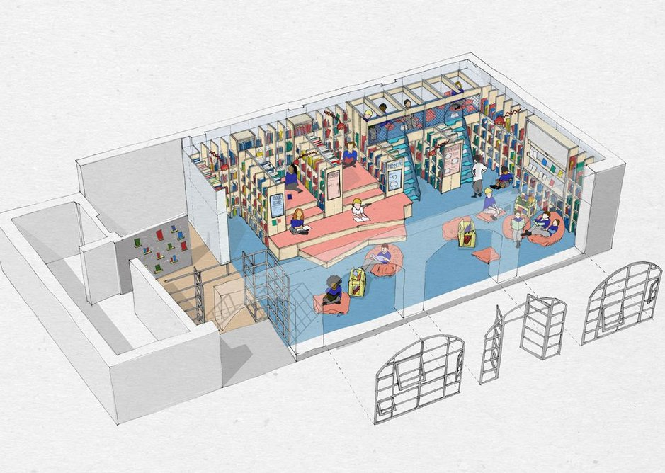 Axonometric drawing of Thornhill Primary School library, designed by Jan Kattein Architects