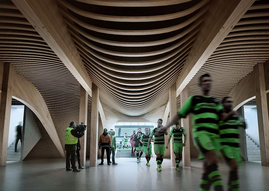 The team run in from the pitch, under ZHA's timber structure. Render-by-negativ.com