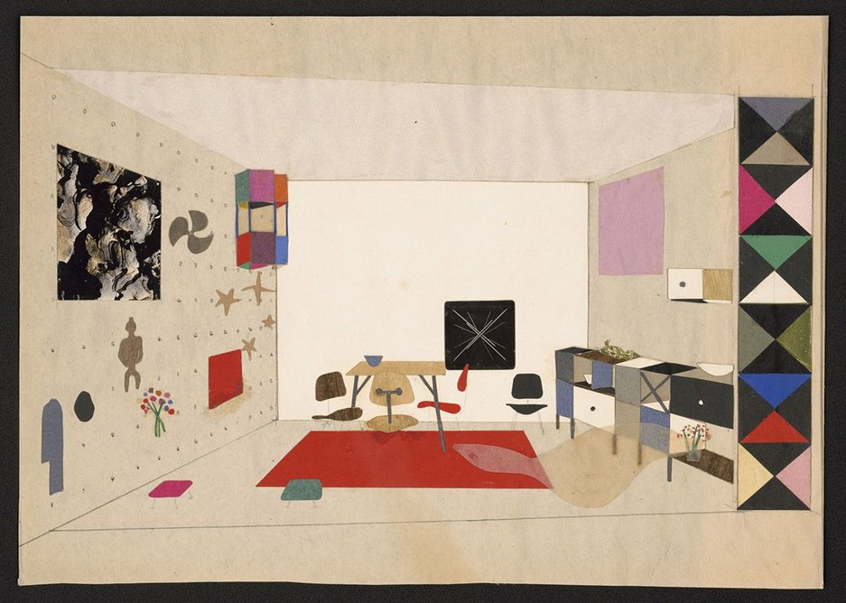 Collage of room display for An Exhibition for Modern Living, 1949.