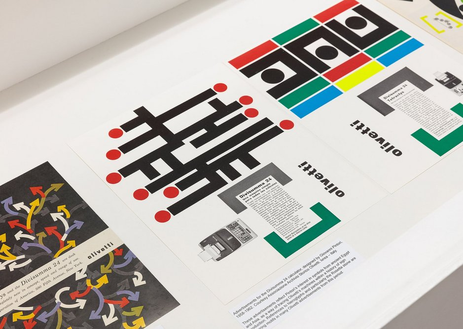 Graphic designers and poets created poster designs and slogans for Olivetti products.