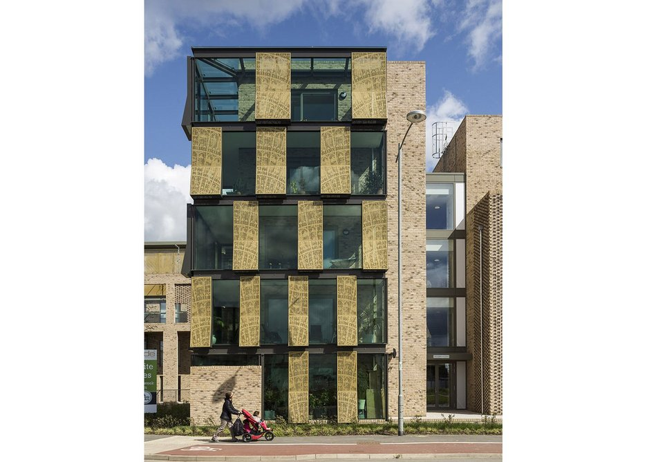 Abode Great Kneighton – not all pitched roofs, dark timber and brick.