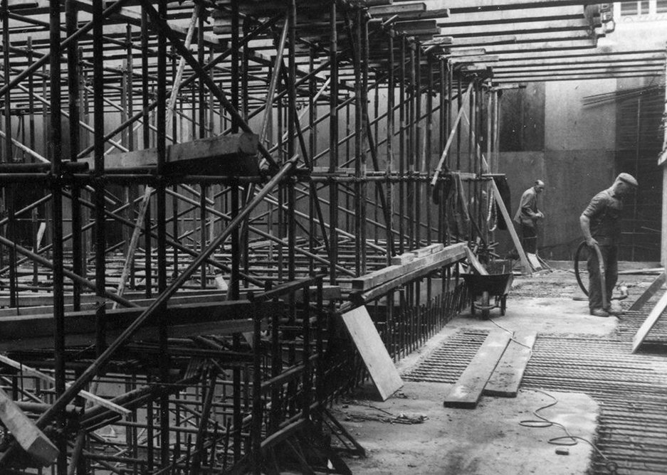 RCP construction works   The building's foundation stone, invisible here beneath the rubble, was laid between the two thin pillars at the front of the building by HRH Queen Elizabeth the Queen Mother, on 6 March 1962.