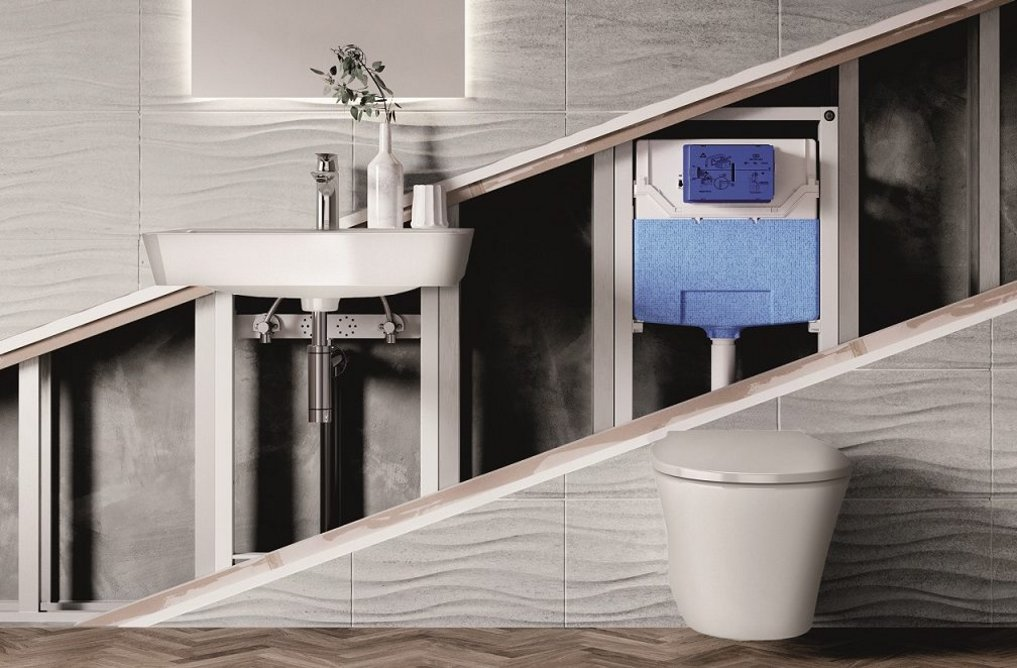 Ideal Standard Prosys in-wall washbasin and WC frames with Connect Air ceramics.