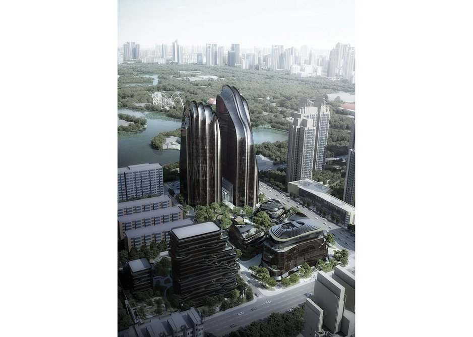 Rendered drawing of the ridges and valleys that define the exterior glass facade of Chaoyang Park Plaza in Beijing.