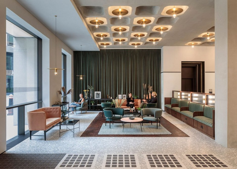 The reception has a Deco-mid century modern vibe.