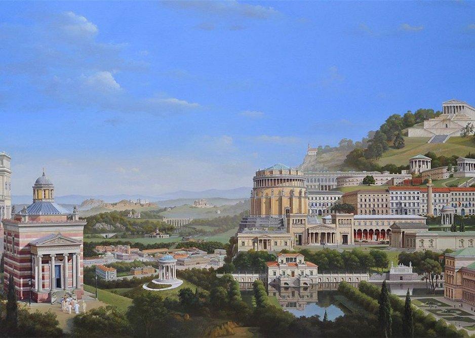 Imagined cityscape – Klenzeana, 140x241cm, oil on canvas, 2016.