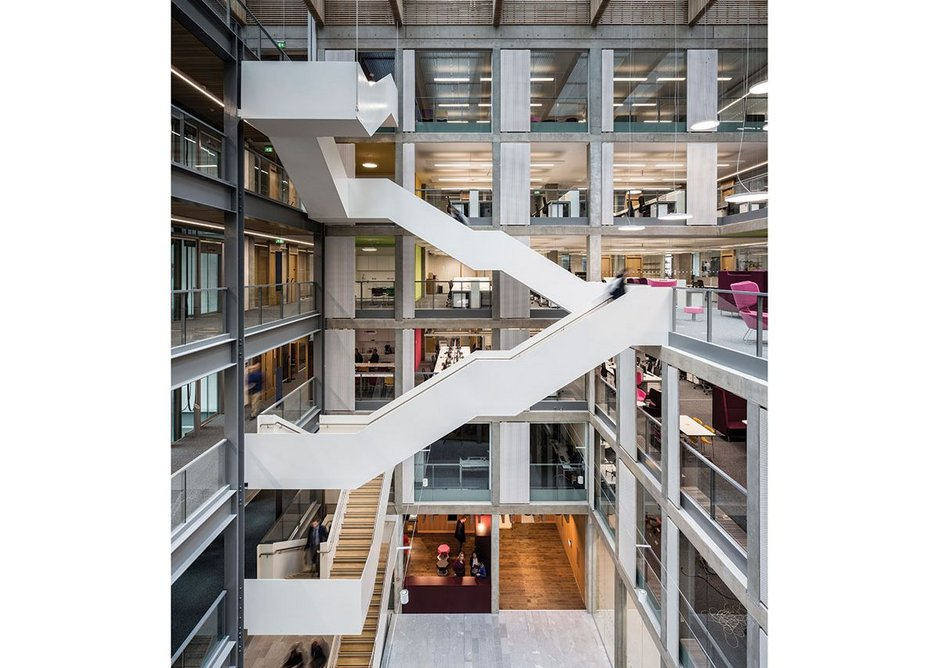 Inspired by the client, the staircase winding up through the central atrium becomes a focus of connection and interaction.