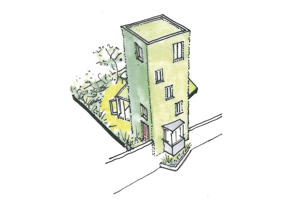 An example of the detached tower houses placed between the finger blocks.