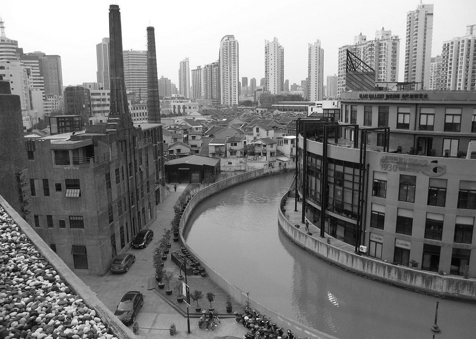 Shanghai 2012 view from roof of 1933 Slaughterhouse. The modern city encroaching on the old.