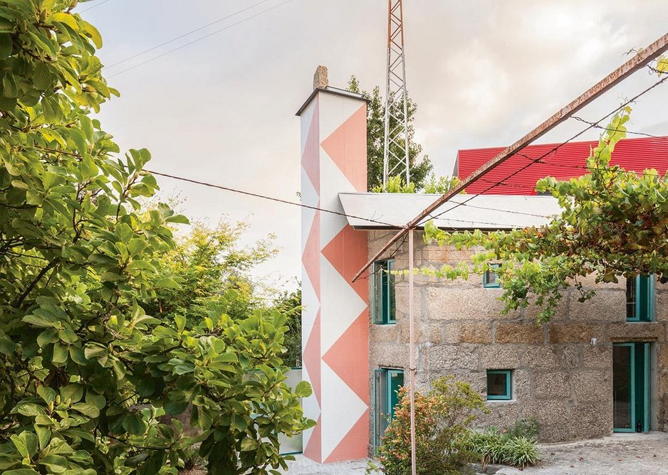 Project 081 'House with a monumental shower' – Fala converted a 30m2 shack in a garden for the owner's son, extending a tiny footprint for the shower room, which stands proud to the side.