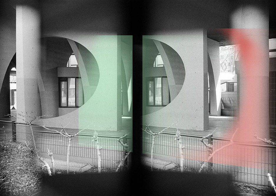 Piloti of the Spinoza housing block at Ivry by Renée Gailhoustet. Colour-tinted stereoscopic image by Nigel Green/Photolanguage.