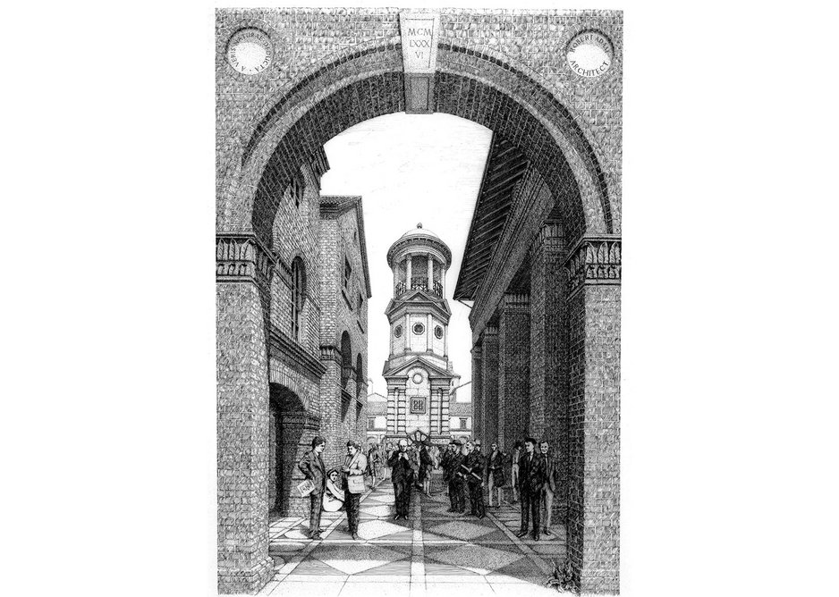 Adam's 1986 capriccio of a Classical Street features architects of the past including Lutyens, with Adam and Quinlan Terry front left and right.