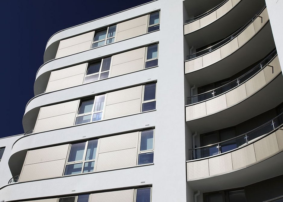 Berry Court: a contemporary development that responds to Bournemouth's Art Deco heritage with clean horizontal banding and sweeping curves.