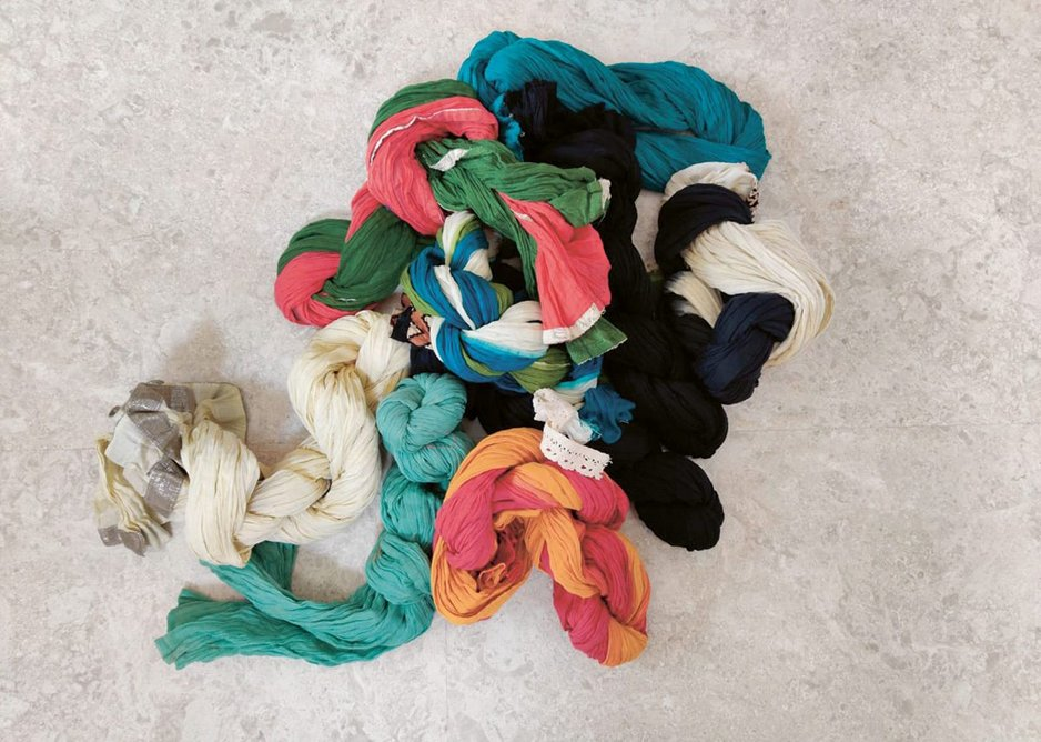The 'WeRope' testing process of making ropes with unwanted clothing.