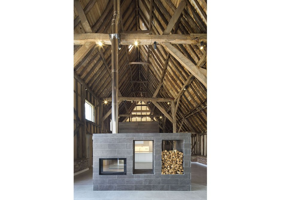 Inside one of the finished barns at Anstey Hall Barns in Trumpington, Cambrdge, as designed by David Miller Architects.