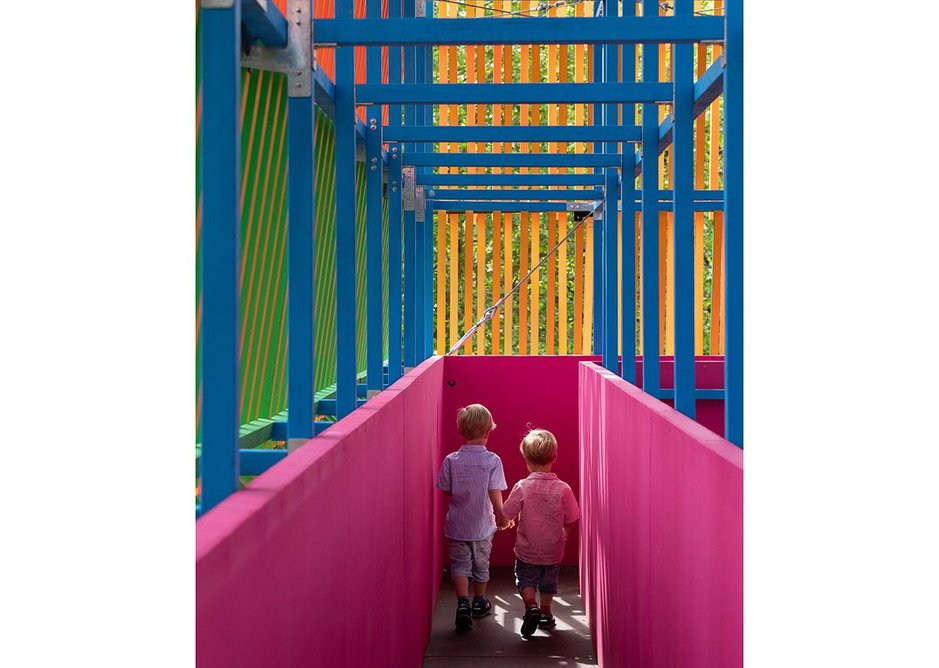 The gantry of The Colour Palace, a summer pavilion designed by Pricegore and Yinka Ilori at the Dulwich Picture Gallery, 2019.