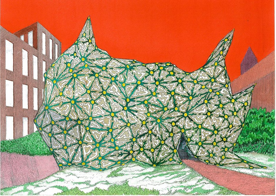 Urban Retreat by Peter Cook. Print from ink and watercolour, 42 x 62cm. Courtesy of Cook Robotham Architectural Bureau.