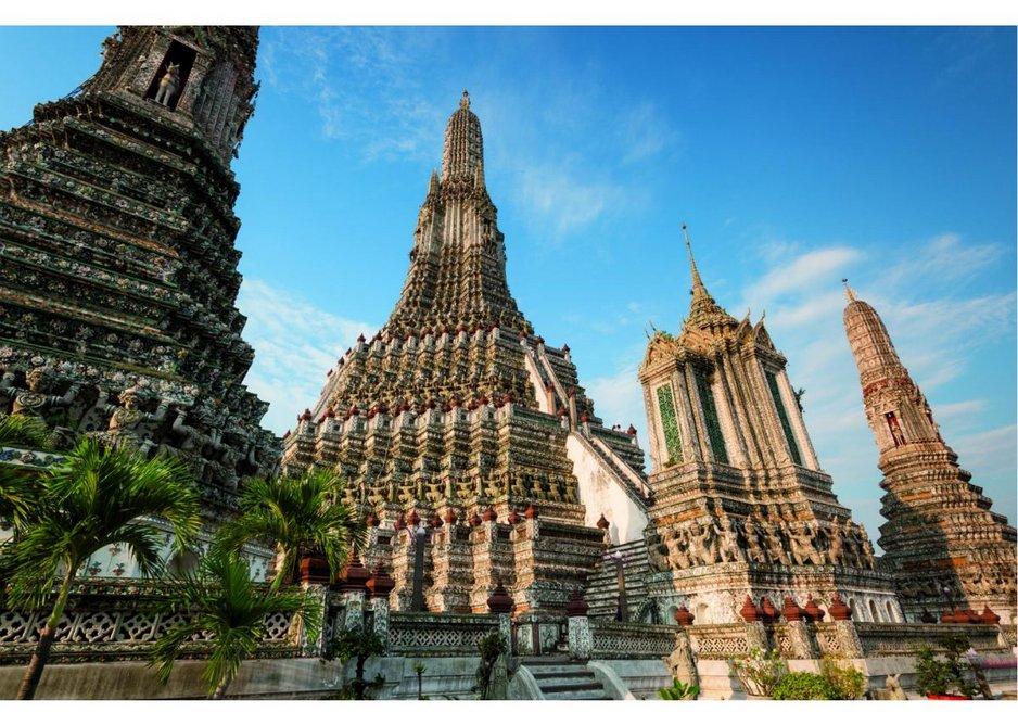 The towering Prangs of Wat Arun, 19th Century, Bangkok, Thailand