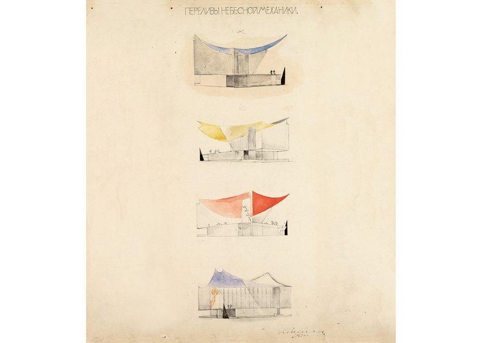 Konstantin Melnikov. Project of USSR pavilion for New York 1964 Exhibition. Variations.