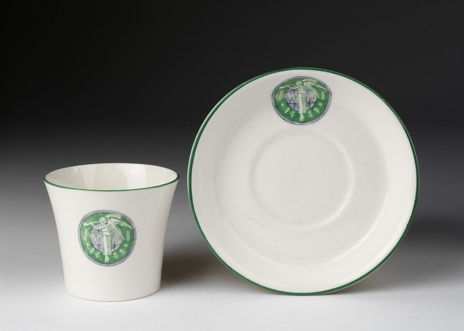 Storm in a tea cup: Women's Social and Political Union teaset.