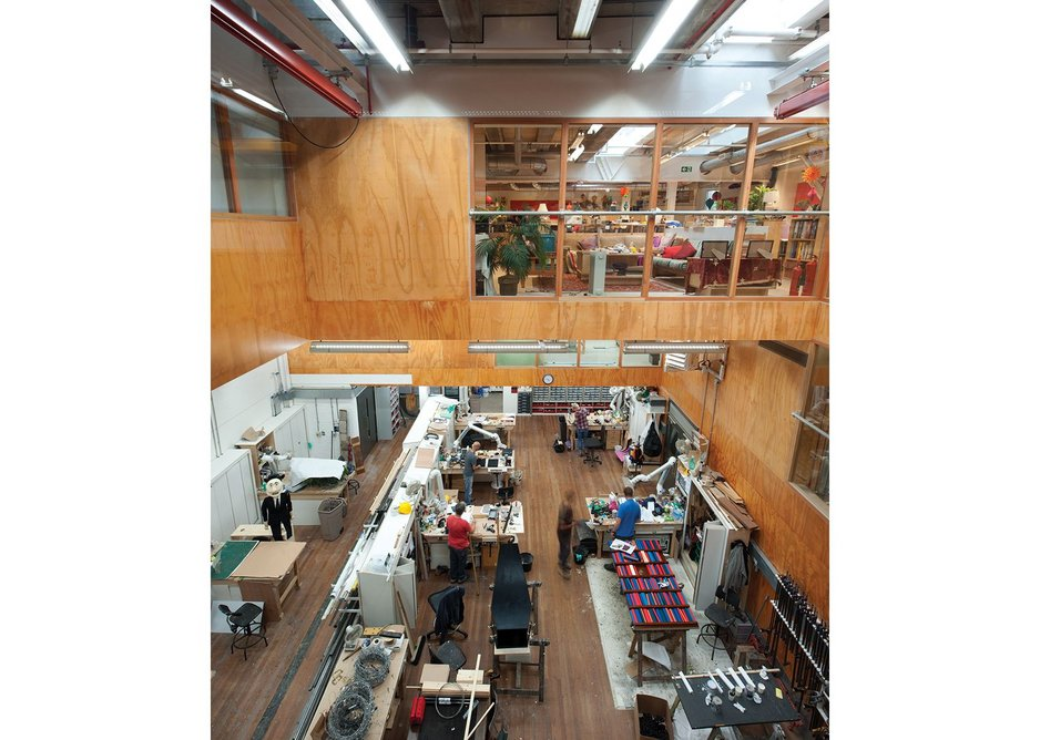 Looking down into the scenery workshop in the Max Rayne Centre.