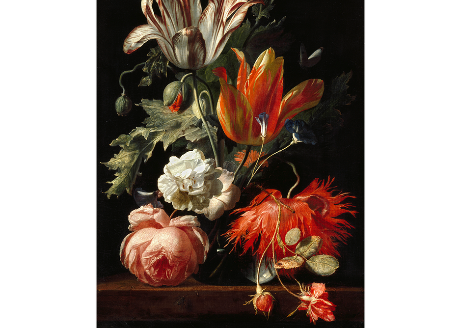 A Vase of Flowers by Simon Verelst, 1669. Courtesy The Ashmolean Museum, University of Oxford. Bequeathed by Daisy Linda Ward, 1939. Verelst was a specialist in ultra-realist floral paintings.