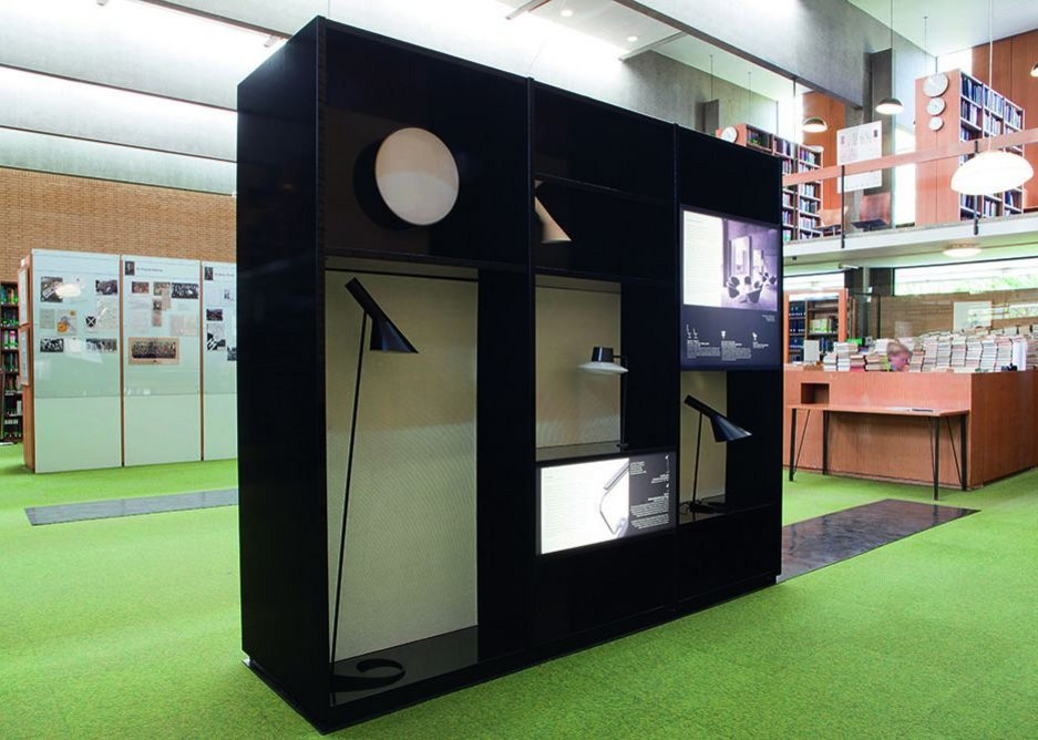 The displays use  a theme of objects seen  in silhouette.