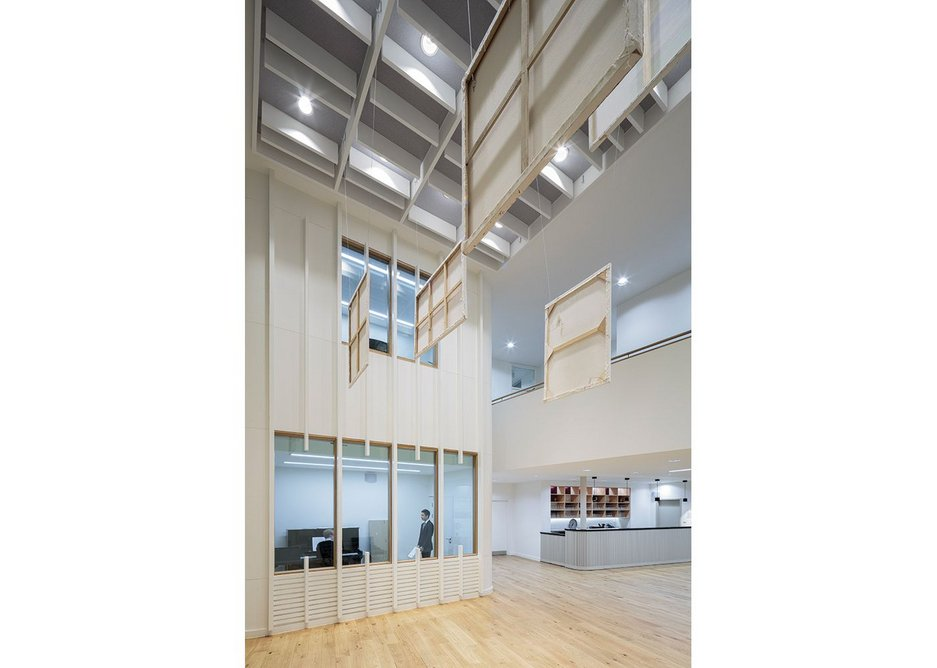 The double height space of the foyer works during the school day as a practice room (with an observation room alongside), and as part of an extended foyer for events.