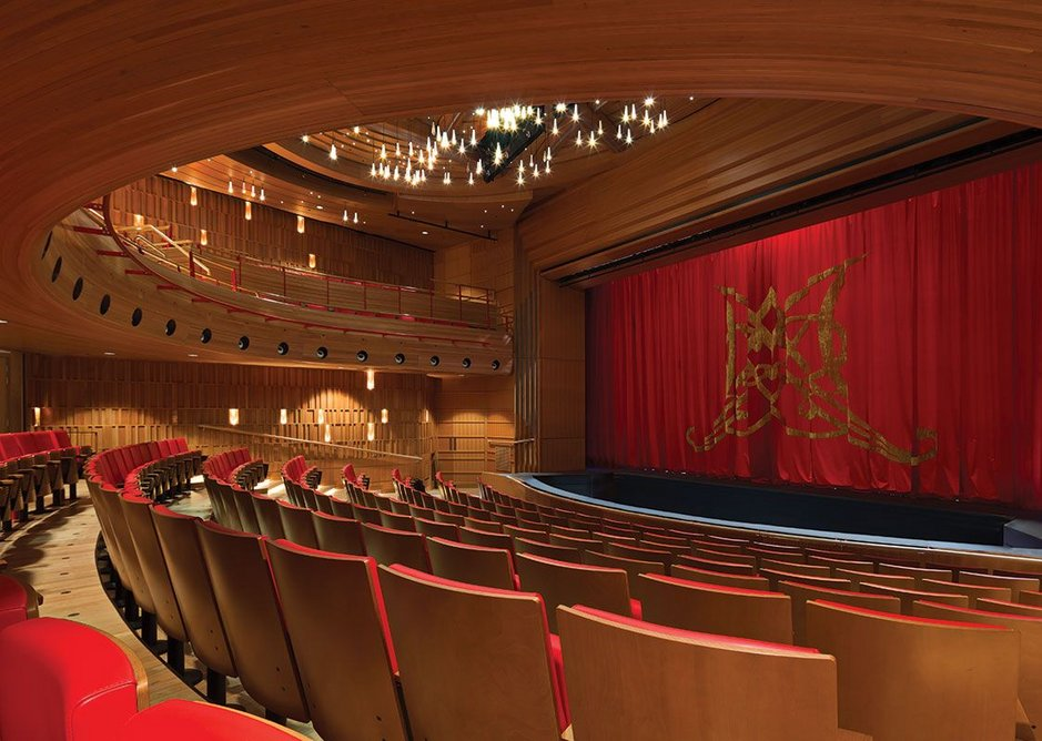 Stalls seat view of the refurbished Susie Sainsbury Theatre – the upper level balcony is a new intervention.