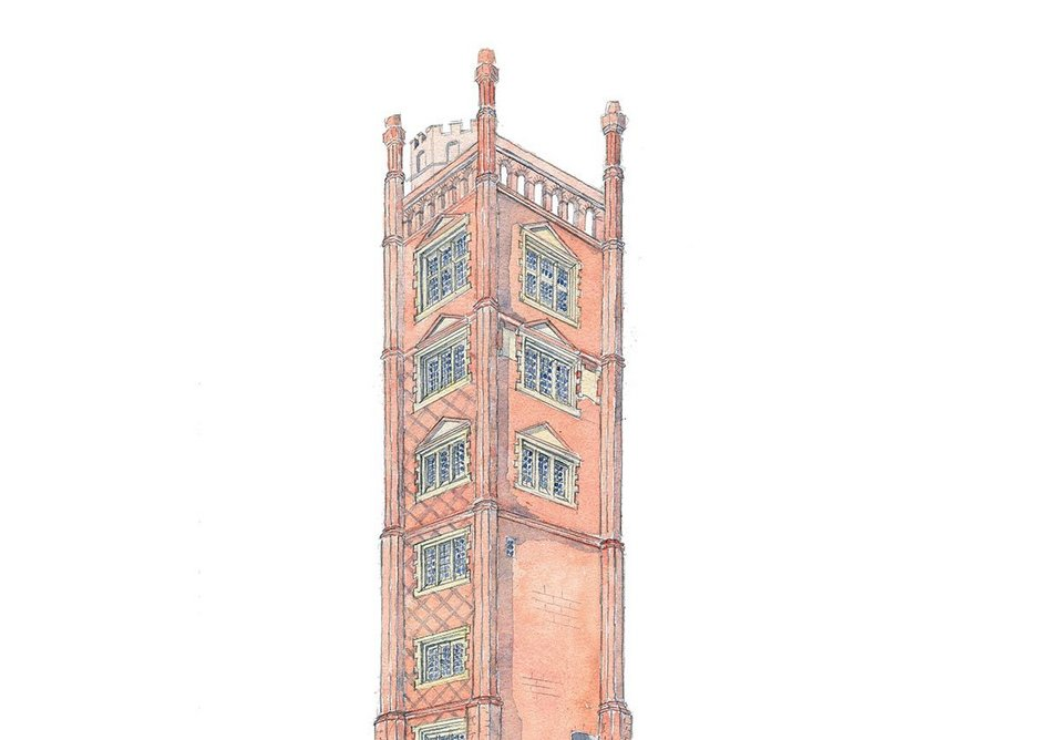 Freston Tower, Suffolk, built in 1578 by Thomas Gooding in anticipation of Elizabeth I sailing past in 1579. Sketch by Rory Fraser.