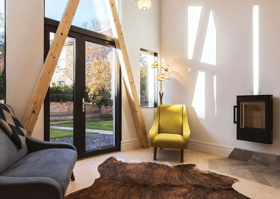 The A-frame structure was a conscious aesthetic choice by the architect.