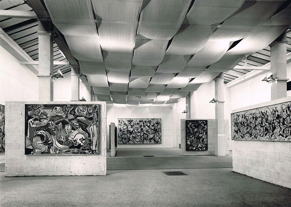 Installation view of Jackson Pollock exhibition 1958, designed by Trevor Dannatt at the Whitechapel Gallery.