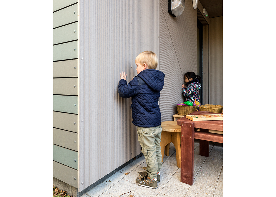 Magic touch: Corstorphine Nursery children explore the tactility of their Linea walls.