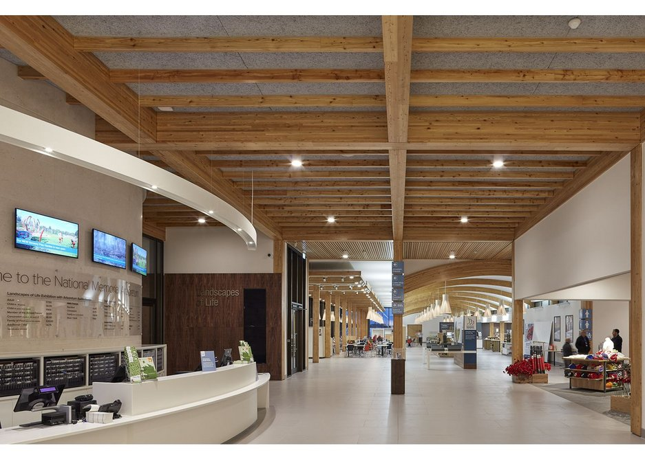 Reception and interior view of the Remembrance Centre, National Memorial Arboretum, Alrewas, designed by Glenn Howells Architects