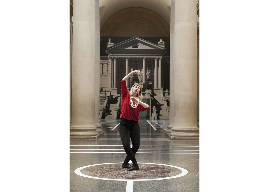 Solo in the octagon in the middle of the Duveen Galleries, with a backdrop depicting the main entrance behind, Pablo Bronstein, Historical Dances in an Antique Setting.