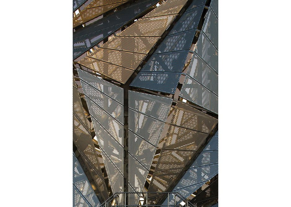 Detail of faceted cladding, supported on steel bracing, carefully planned to minimise visual intrusion into the artwork.
